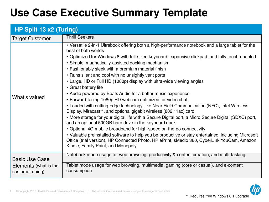 ppt use case executive summary template powerpoint presentation