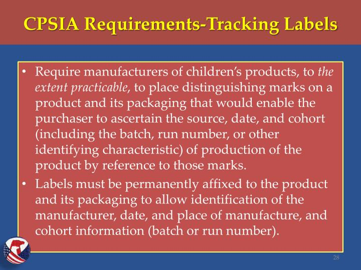 CPSIA Requirements-Tracking Labels