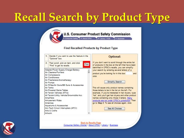 Recall Search by Product Type