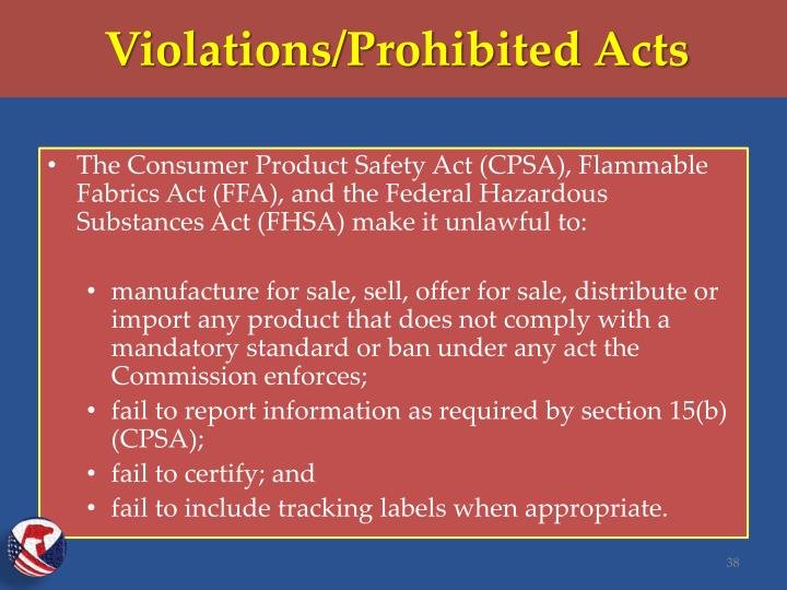 Violations/Prohibited Acts