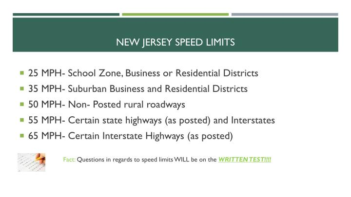 New jersey speed limits