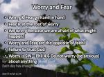 worry and fear