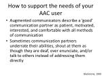 how to support the needs of your aac user