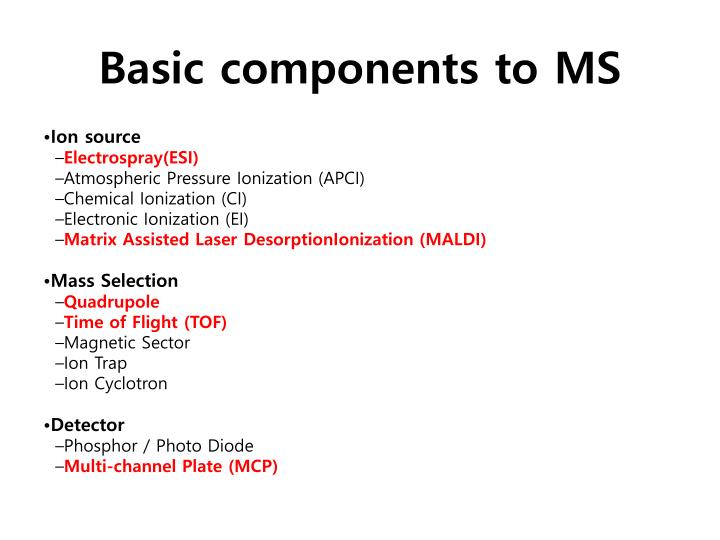 Basic components to MS