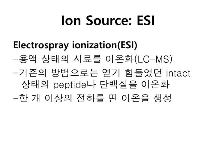 Ion Source: ESI