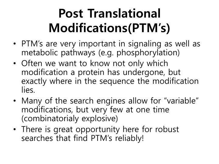 Post Translational Modifications(PTM's)