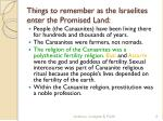 things to remember as the israelites enter the promised land