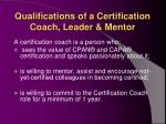qualifications of a certification coach leader mentor