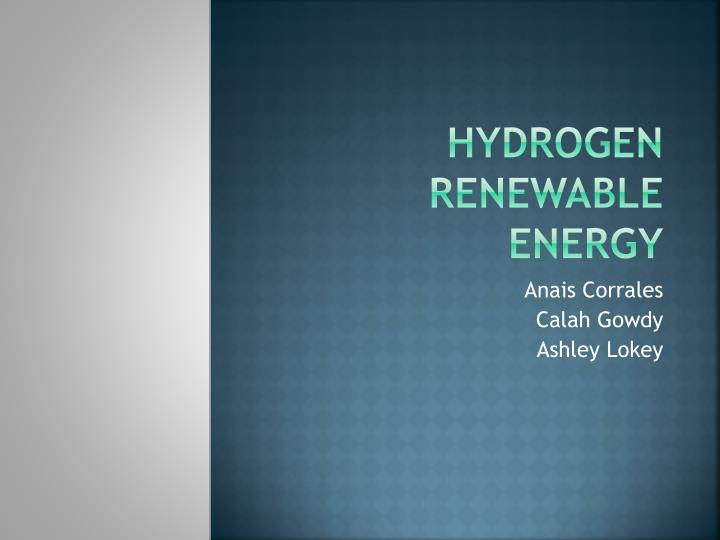 hydrogen renewable energy n.