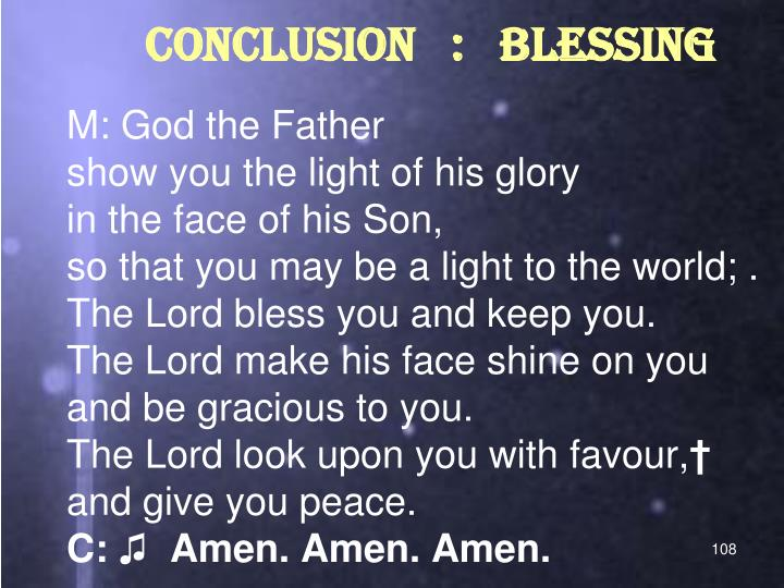 CONCLUSION   :   BLESSING