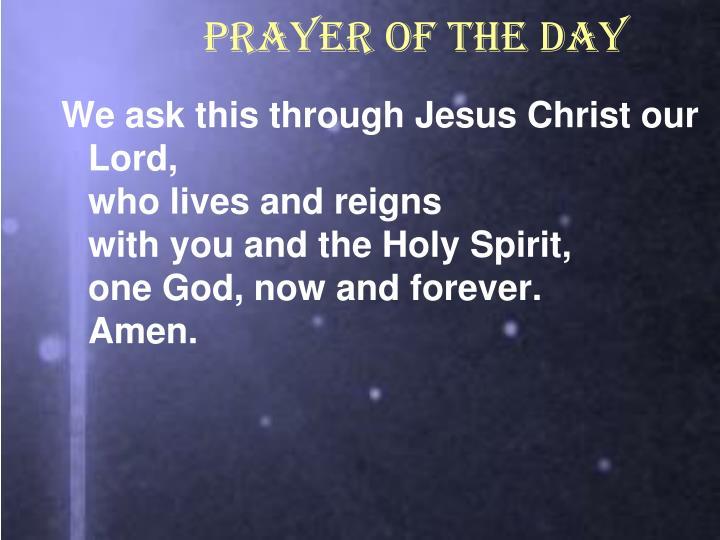 PRAYER OF THE DAY