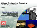 military engineering overview 6 1 portfolio management review 9 june 11