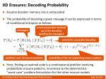 iid erasures decoding probability