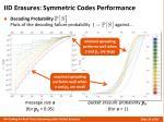 iid erasures symmetric codes performance