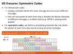 iid erasures symmetric codes