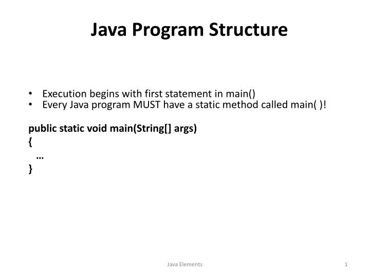java program structure n.