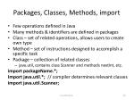 packages classes methods import