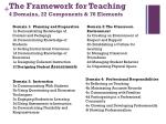 the framework for teaching 4 domains 22 components 76 elements