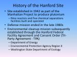 history of the hanford site