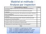 mat riel et m thode analyse par inspection