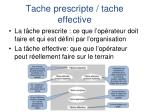 tache prescripte tache effective