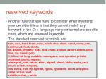 reserved keywords