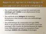 apports en ing nierie ontologique et aux applications du web s mantique