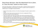 data driven decisions how the department has or plans to close the loop based on these results