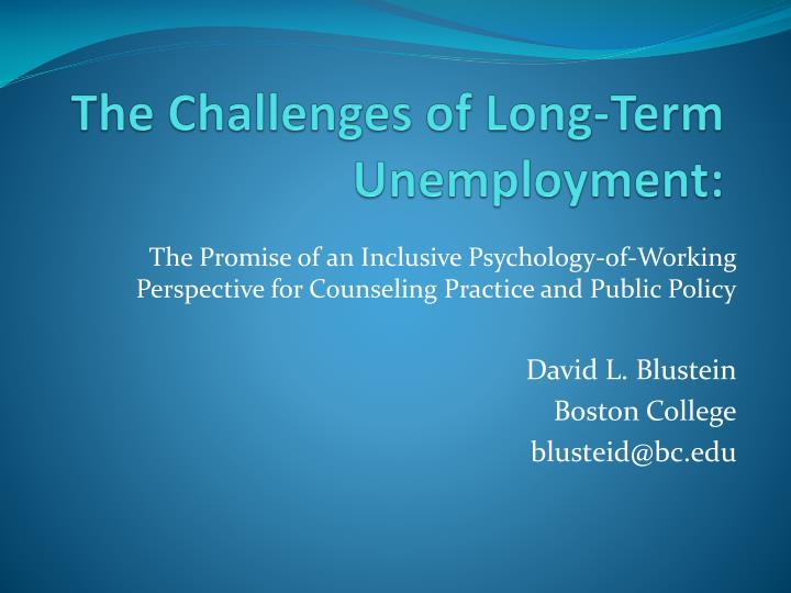 the challenges of long term unemployment n.