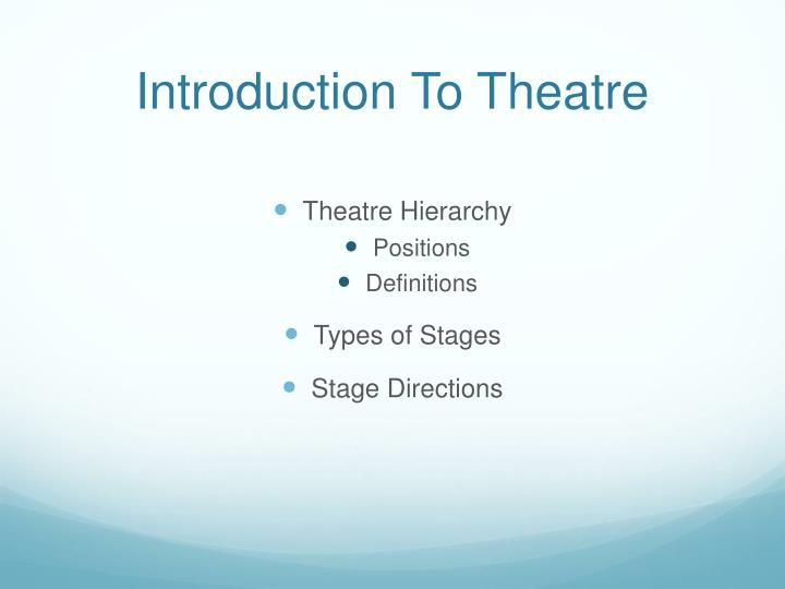 introduction to theatre n.
