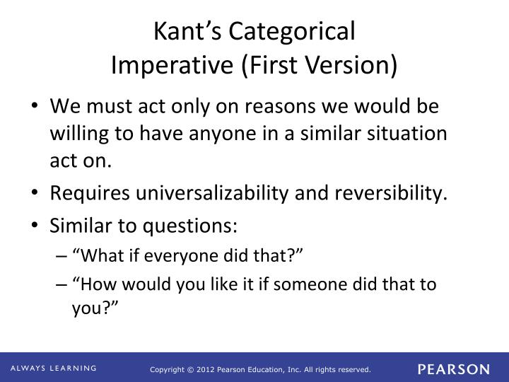 summary of kants categorical imperative 2 essay The categorical imperative which was initially described by immanuel kant is the theory that a person is to act only on the maxim through which.