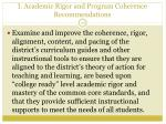 i academic rigor and program coherence recommendations1