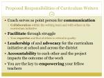 proposed responsibilities of curriculum writers