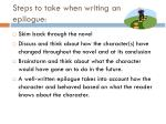 steps to take when writing an epilogue