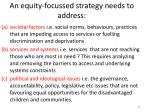 an equity focussed strategy needs to address