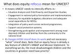 what does equity refocus mean for unicef
