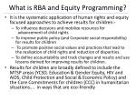 what is rba and equity programming