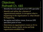 objectives rothwell ch 4 5