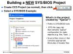 building a new sys bios project