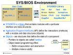 sys bios environment