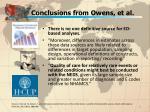 conclusions from owens et al