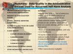 summary data quality in the administrative dataset used for recurrent self harm analysis