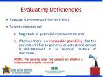 evaluating deficiencies