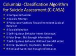 columbia classification algorithm for suicide assessment c casa