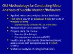 old methodology for conducting meta analyses of suicidal ideation behaviors