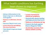 what health conditions has earthing been shown to improve