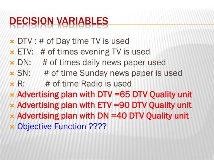 DTV : # of Day time TV is used