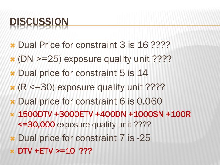 Dual Price for constraint 3 is 16 ????