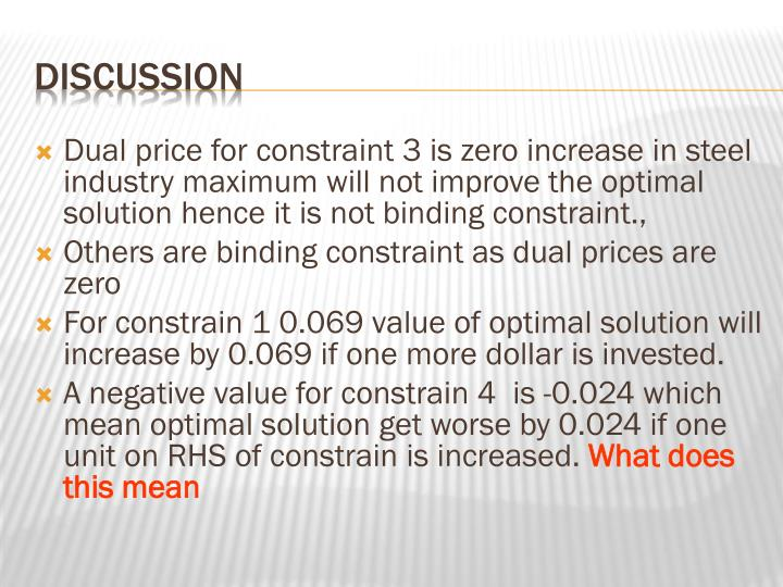 Dual price for constraint 3 is zero increase in steel industry maximum will not improve the optimal solution hence it is not binding constraint.,