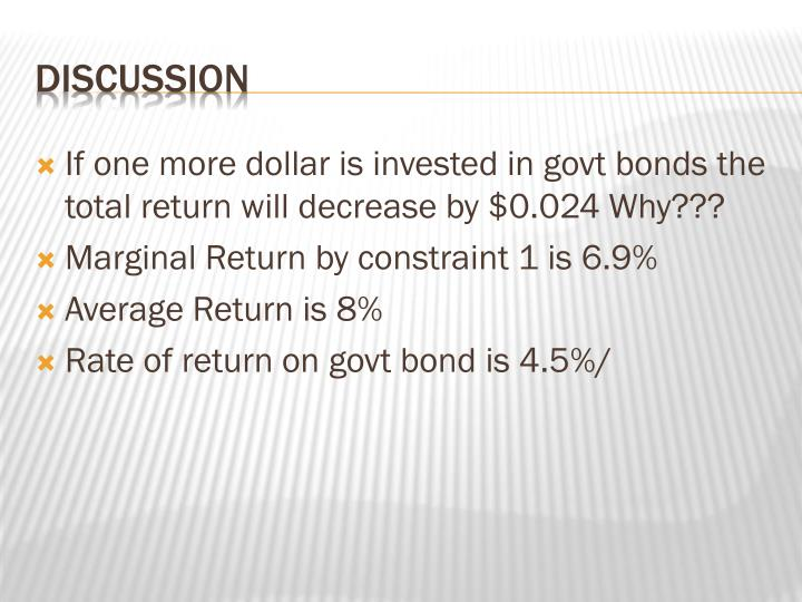 If one more dollar is invested in govt bonds the total return will decrease by $0.024 Why???